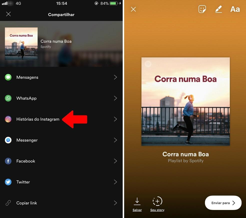 Adesivo com playlist do Spotify é adicionado ao Instagram Stories (Foto: Reprodução/Rodrigo Fernandes)