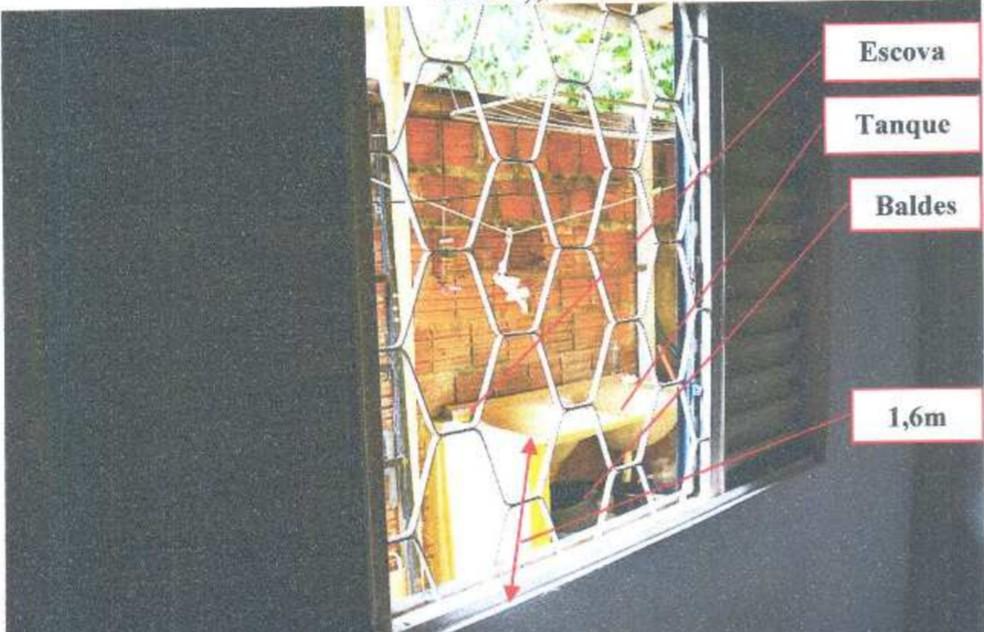 Vítima abriu uma janela do apartamento e pediu ajuda para uma vizinha quando o suspeito saiu  — Foto: Reprodução