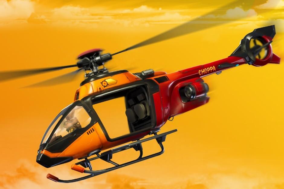 O helicóptero Choppa, lançado no novo capítulo de Fornite (Foto: Divulgação/ Epica Games)