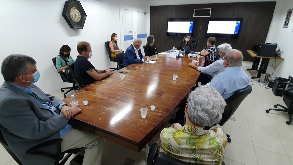 Representantes de entidades médicas e da Secretaria de Saúde de Pernambuco se reuniram, no Recife, parta abordar aumento de vagas de UTI para crianças com a Covid-19  — Foto: Reprodução/TV Globo