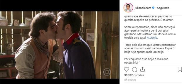 Juliano Laham comemora beijo gay em Orgulho e Paixão (Foto: Reprodução/Instagram)