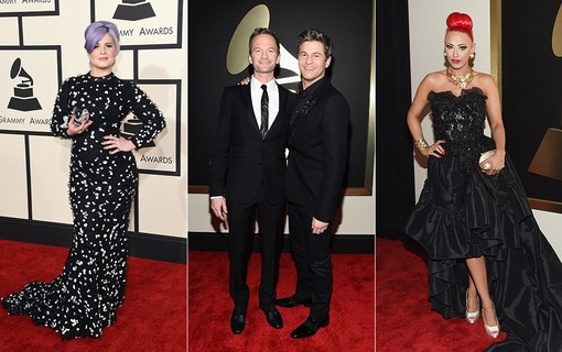 Kelly Osbourne (à esq.); Neil Patrick Harris e David Burtka (ao centro); Kaya Jones (à dir.)