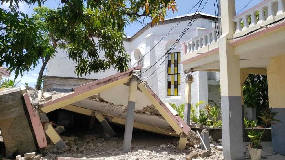 Igreja destruida após terremoto no Haiti no sábado 14/08. — Foto: Associated Press