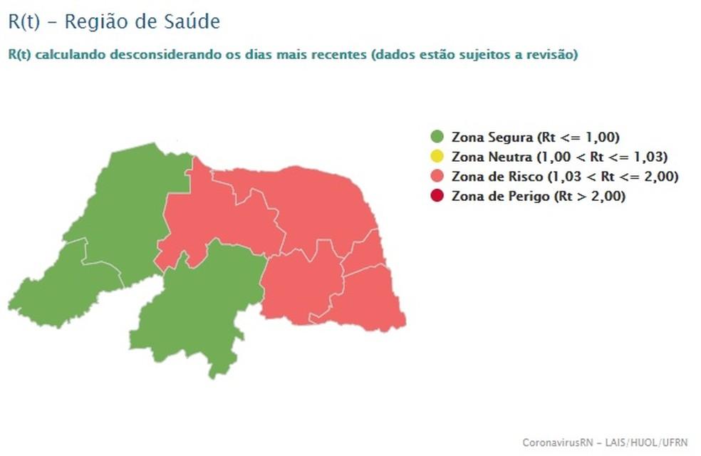 Taxa de transmissibilidade nas regiões do RN — Foto: LAIS