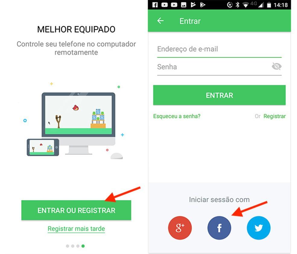 Opção para logar o aplicativo AirDroid no Android (Foto: Reprodução / Marvin Costa)