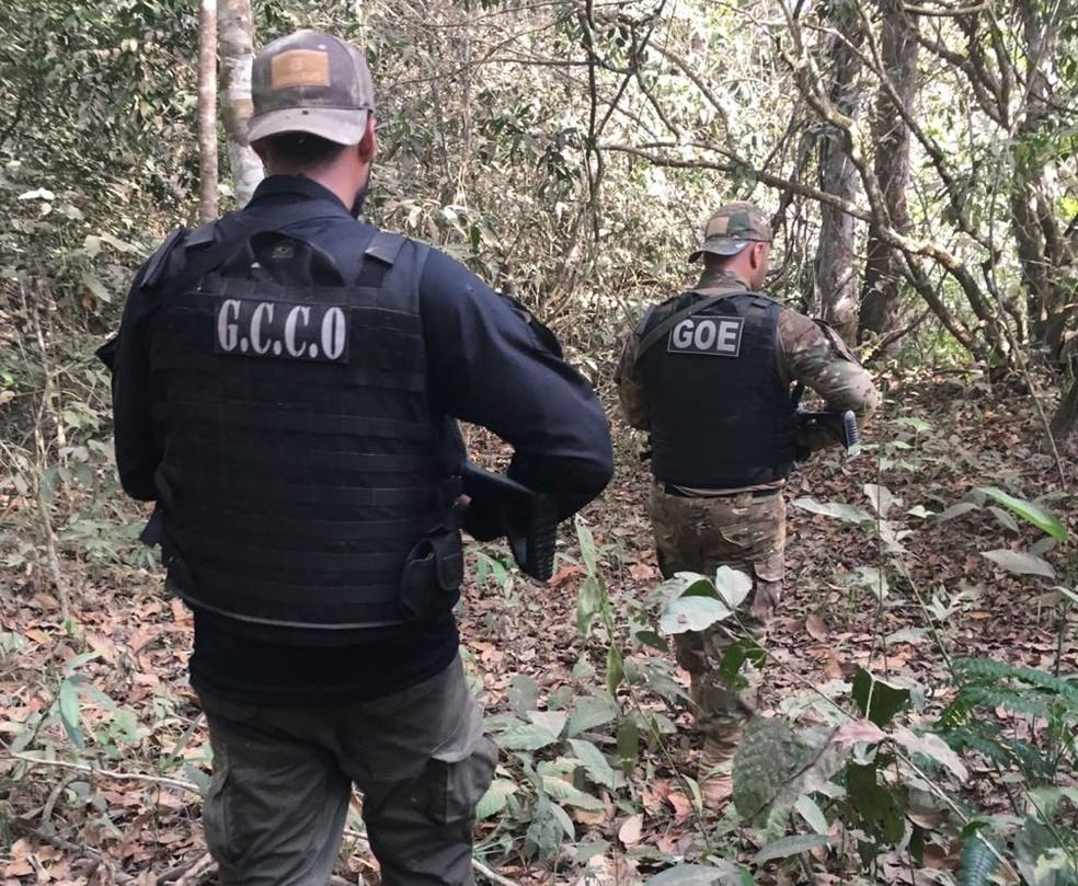 Policiais fazem buscas aos suspeitos (Foto: Polícia Civil-MT)
