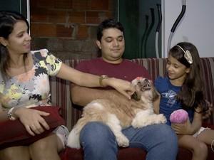 Malu chegou à casa da família Campos há sete meses (Foto: Reprodução/TV Anhanguera)
