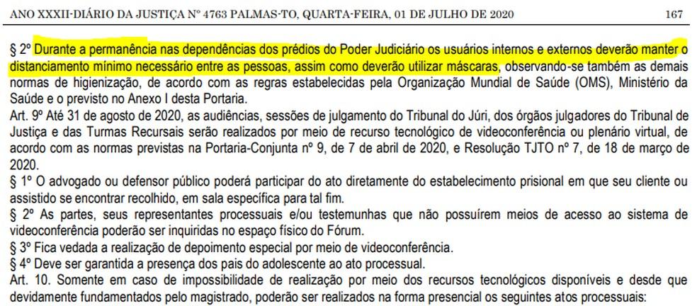 Trecho da portaria que determina uso de máscaras nos prédios do poder judiciário do Tocantins — Foto: Reprodução