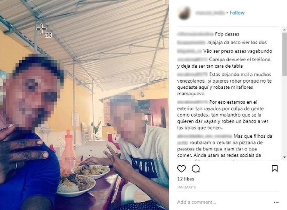 Suspeitos fizeram selfie comendo e postaram imagem no Instagram da vítima (Foto: Reprodução/Instagram)