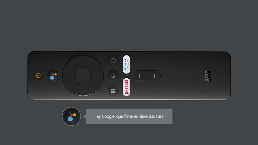 Mi TV Stick vem com botão para acionar o Google Assistente — Foto: Divulgação/Xiaomi