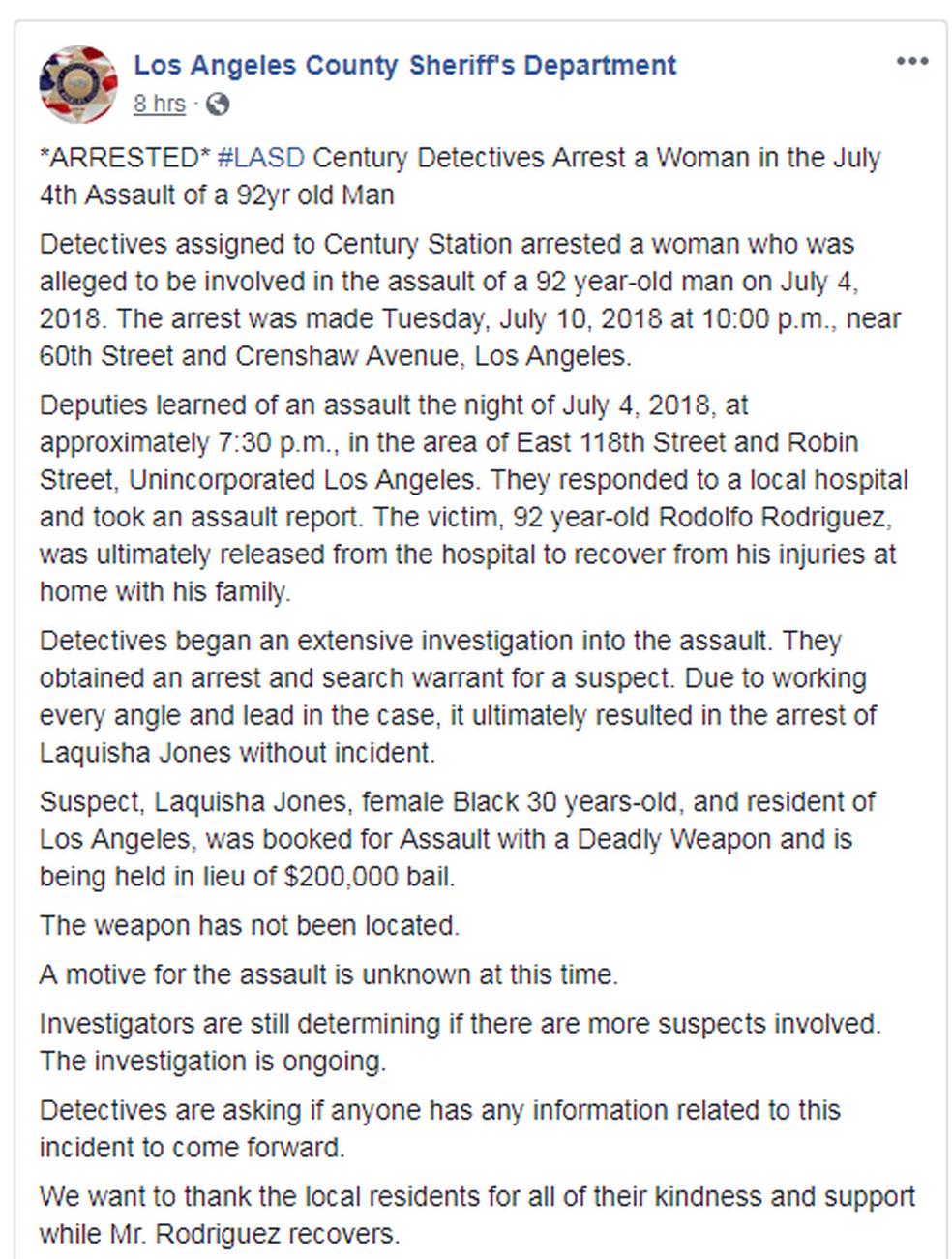 Comunicado da polícia de Los Angeles sobre prisão de acusada de espancar idoso nos EUA (Foto: Reprodução/Facebook)