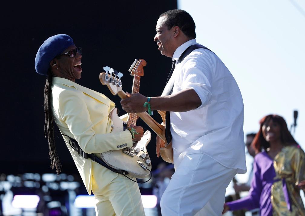 """O músico norte-americano Nile Rodgers, um dos fundadores da """"Banda Chic, que fez sucesso nos anos 1970, se apresenta no Coachella (Foto: Mario Anzuoni/Reuters)"""
