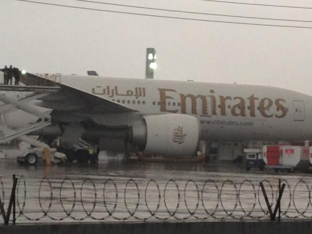 Funcionários da Emirates verificam o problema na asa atingida (Foto: Gabriel Barreira / G1)