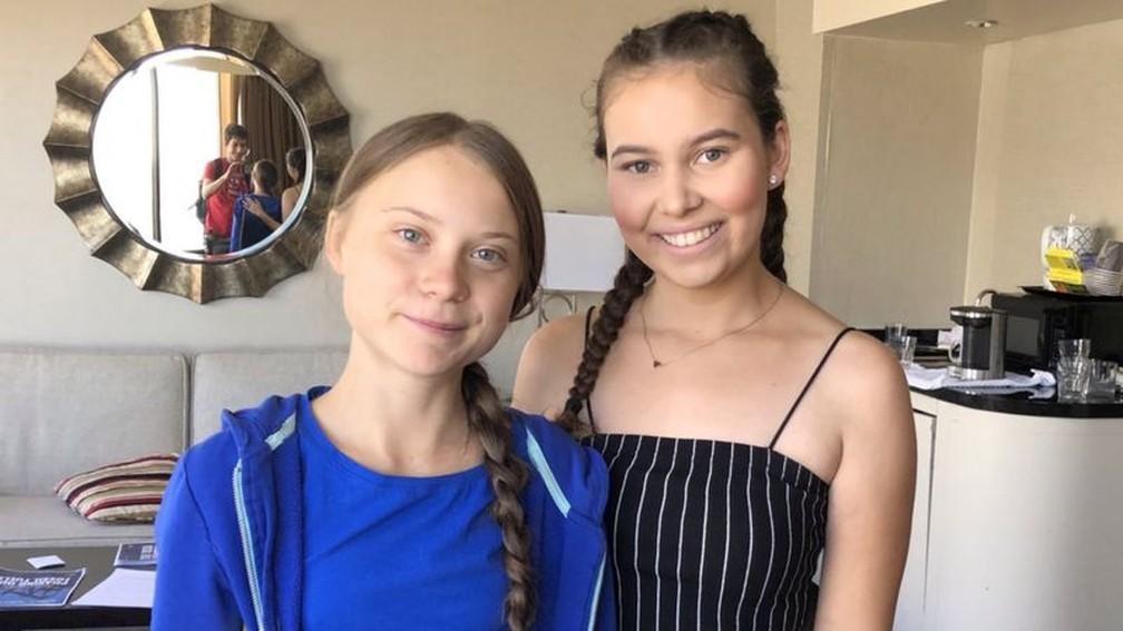 Nalleli Cobo e Greta Thunberg se uniram em campanhas de ativismo ambiental — Foto: CORTESIA NALLELI COBO/BBC