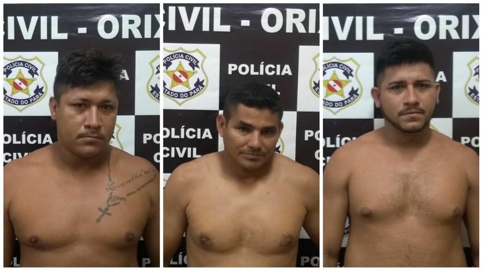 Os três foram presos e apresentados a delegacia de Oriximiná — Foto: Polícia Civil/Divulgação