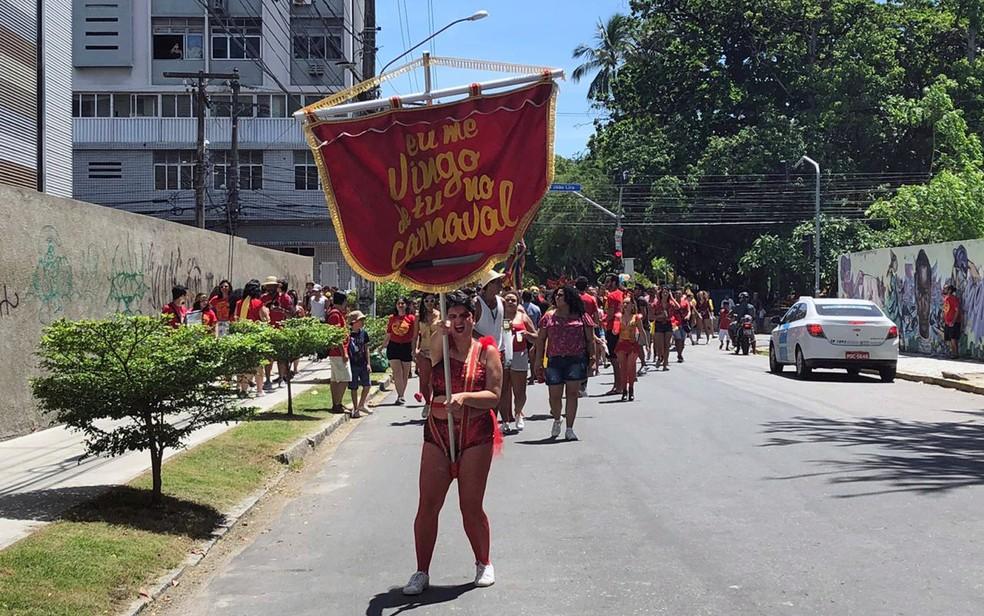 Thaysa Zooby é porta-bandeira do bloco 'Eu me vingo de tu no carnaval', no Recife — Foto: Pedro Alves/G1