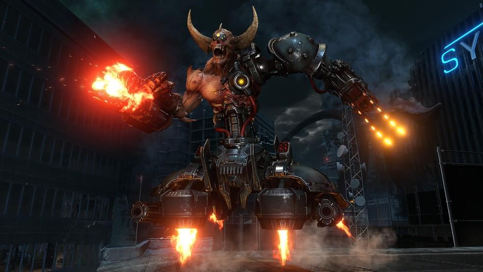O Marauder será um dos desafios encarados por Doom Slayer no novo game, Doom Eternal — Foto: Divulgação/Bethesda