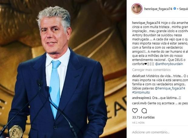 Post do chef Henrique Fogaça (Foto: Instagram/Reprodução)