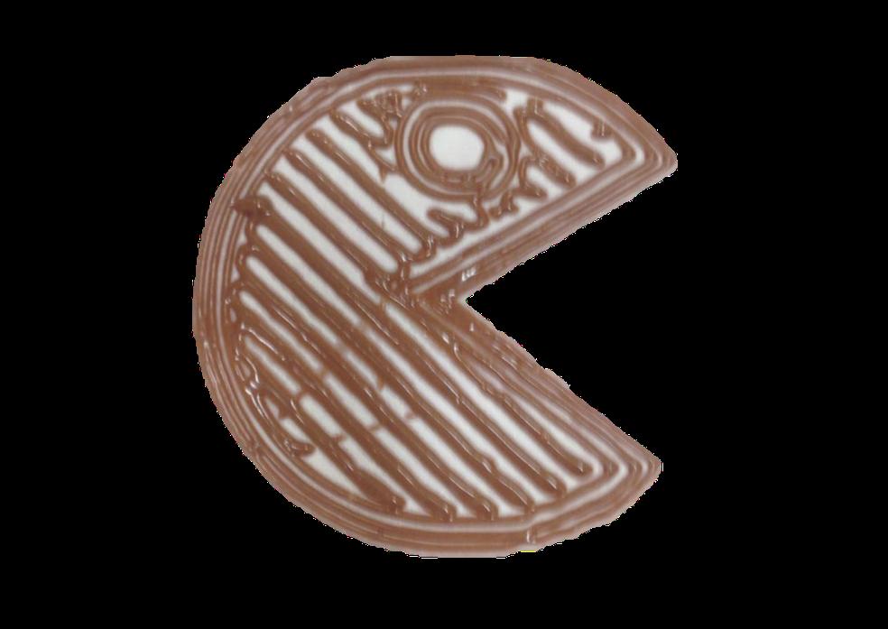 Pacman de chocolate feito na impressora 3D dos alunos do Cefet — Foto: Carolina Kuroda/Arquivo pessoal