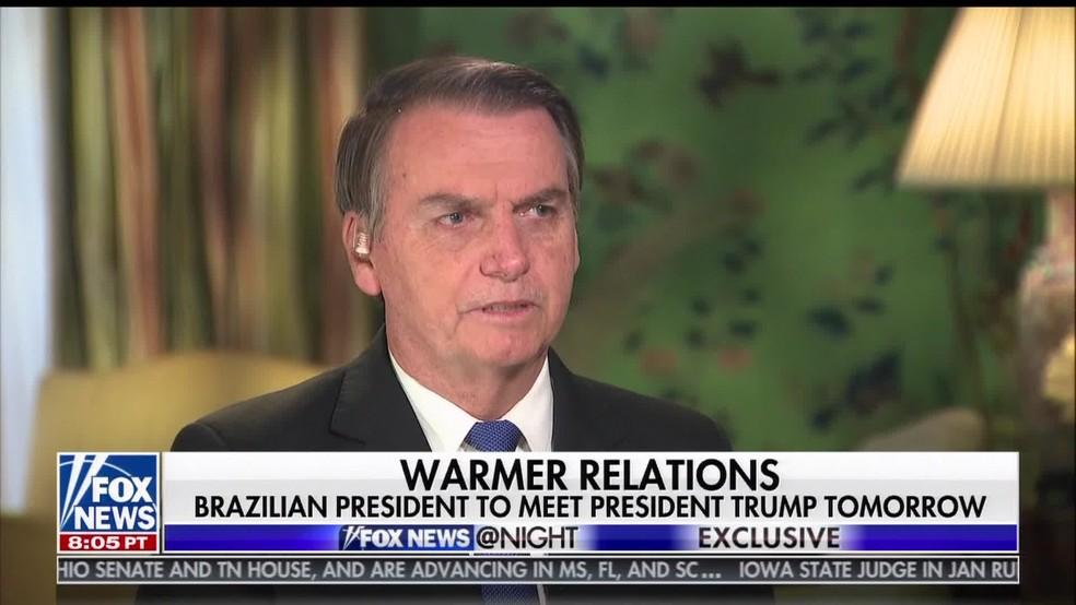 Bolsonaro em entrevista à Fox News, nos EUA — Foto: Reprodução/Fox News