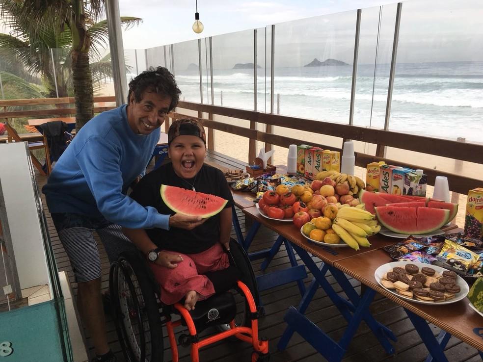 Rico de Souza e Davizinho no Rico Point Barra (Foto: Ricosurf)