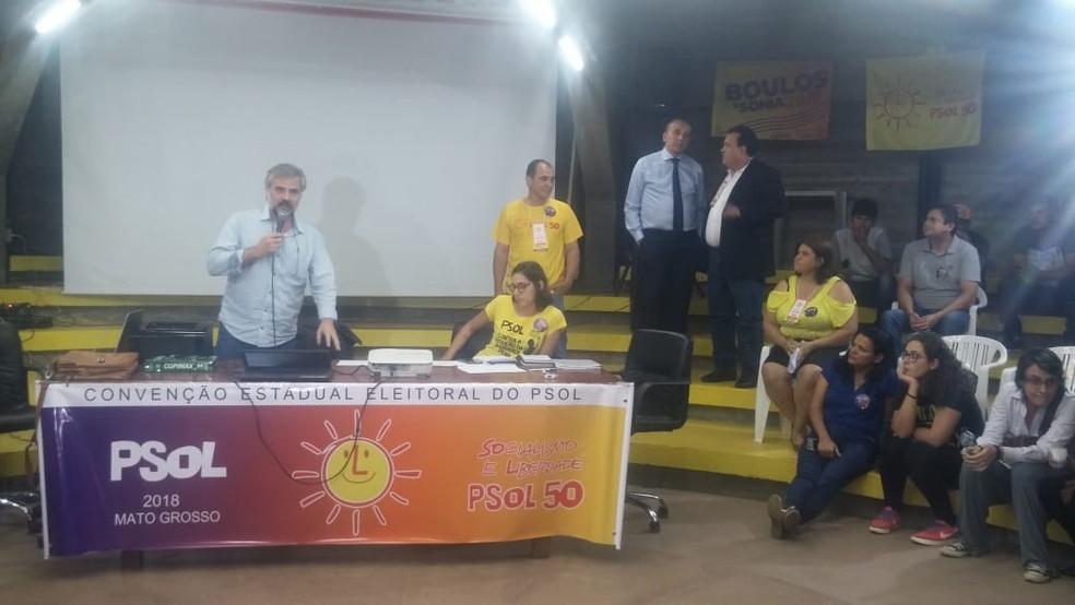 PSOL oficializa Moisés Franz como candidato a governador de MT (Foto: Adriano Soares/TV Centro América)