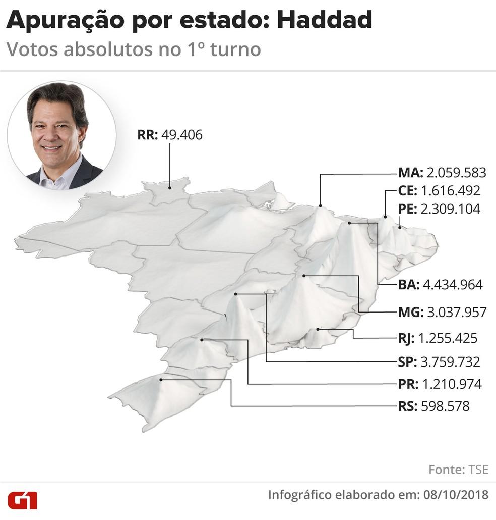 Apuração por estado: Haddad — Foto: Igor Estrella/G1