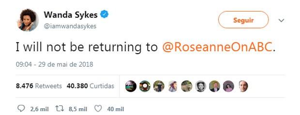 O tweet de Wanda Sykes (Foto: Reprodução Twitter)