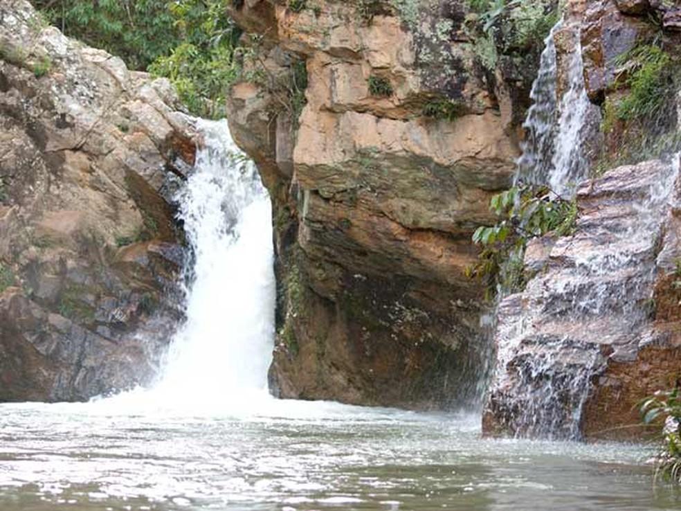 Cachoeira na região do Poço Azul, em Brazlândia — Foto: Vianey Bentes/TV Globo