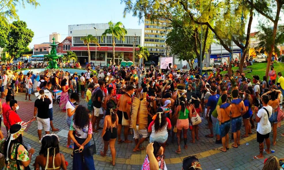Indígenas protestam contra aprovação do marco temporal, em Fortaleza. — Foto: Povo Tremembé da Barra/Reprodução