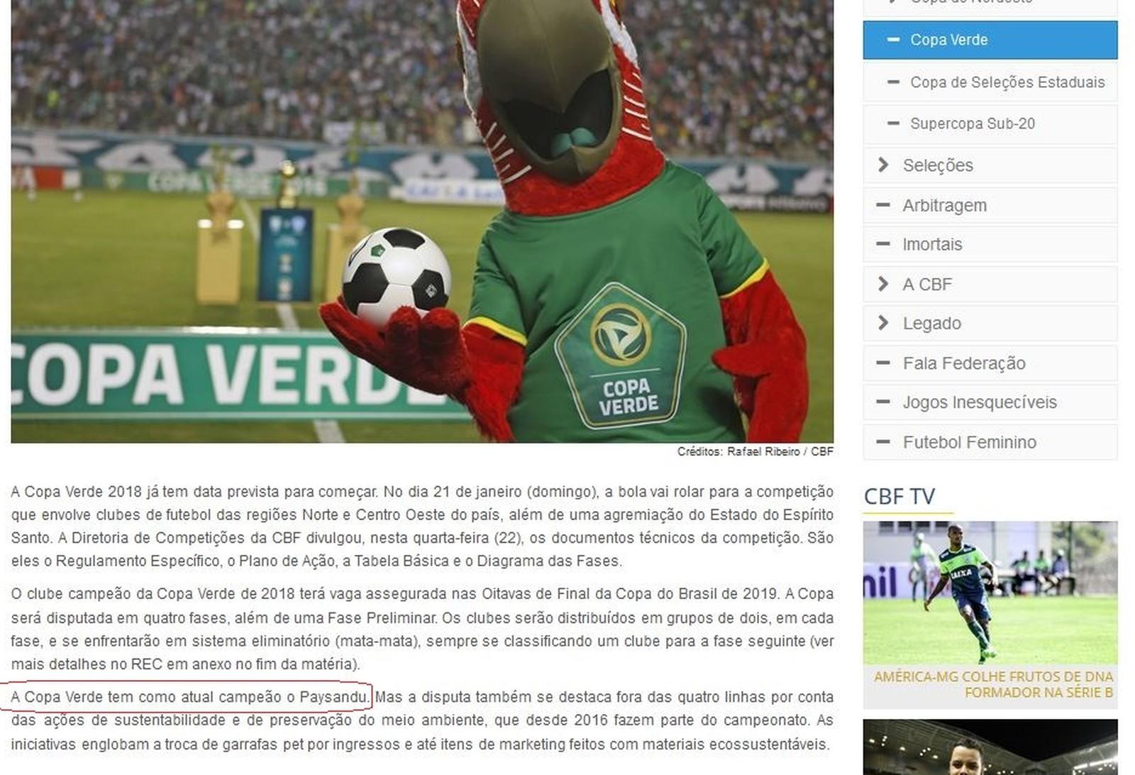 Site da CBF colocou Paysandu como atual campeão. Título de 2017 ficou com o Luverdense-MT (Foto: Reprodução)