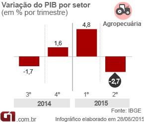 Arte PIB - agropecuária 2º tri 2015 (Foto: Arte/G1)