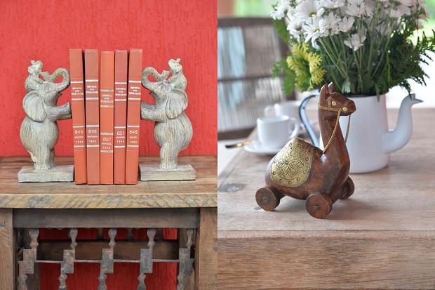 Os aparadores de livro, feitos de resina, em formato de elefante e o dromedário, de madeira, são da Home Style, marca exclusiva da Camicado  (Foto: Divulgação)