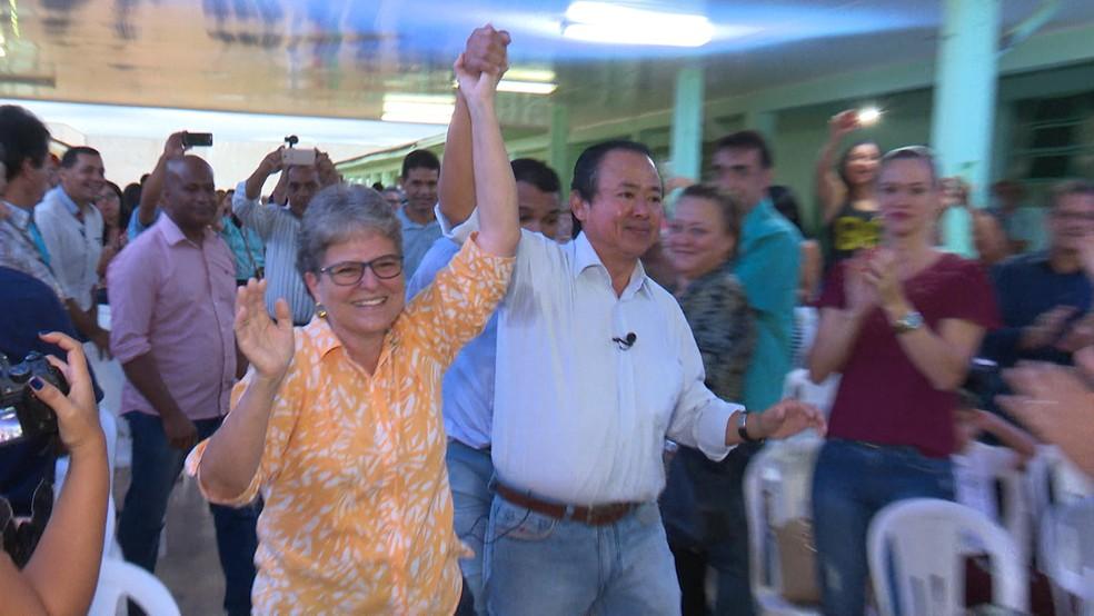 Eduardo Japonês e Maria José da Farmácia vão disputar eleição em junho (Foto: Rede Amazônica/Reprodução)