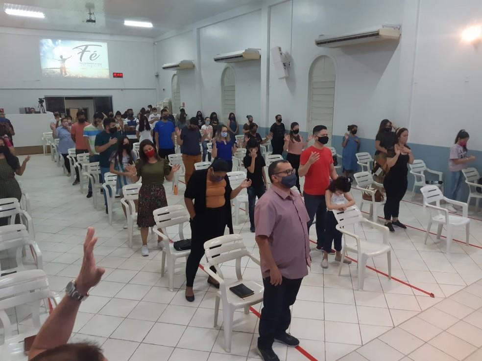 Cultos em igreja evangélica em Rio Branco durante pandemia — Foto: Arquivo/Ameacre