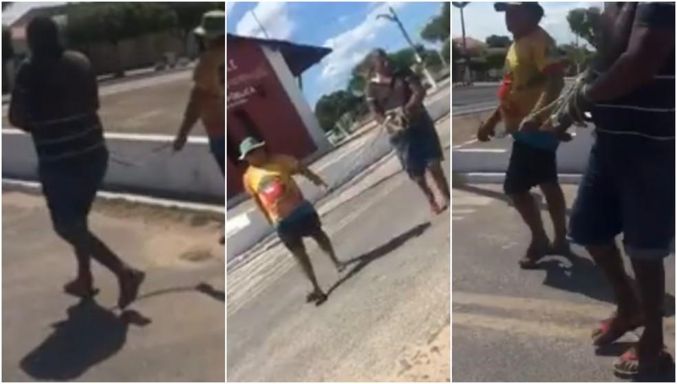Homem é marrado e levado até a polícia em Martinópole, no Ceará — Foto: Reprodução