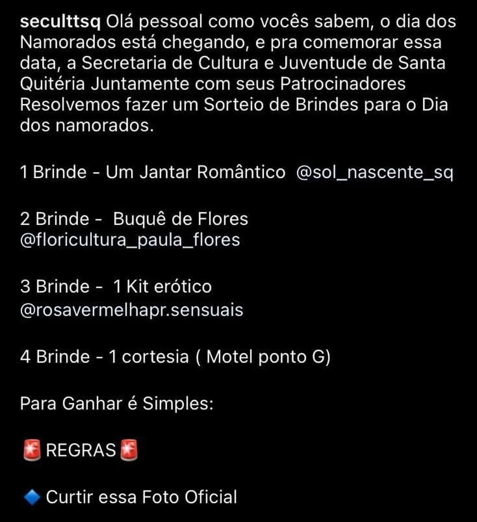 Regras do sorteio do Dia dos Namorados divulgada pela Secretaria de Cultura de Santa Quitéria. — Foto: Instagram/ Divulgação
