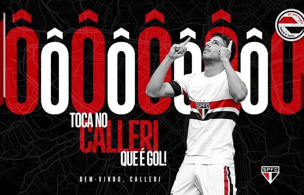 São Paulo anuncia contratação de Calleri — Foto: Divulgação