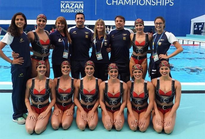 Delegação de nado sincronizado do Brasil no Mundia esportes aquaticos (Foto: Reprodução)