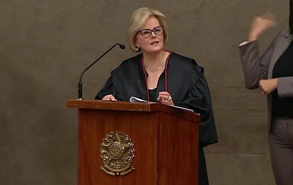 Ministra Rosa Weber, presidente do TSE, durante a diplomação de Bolsonaro — Foto: Reprodução/NBR