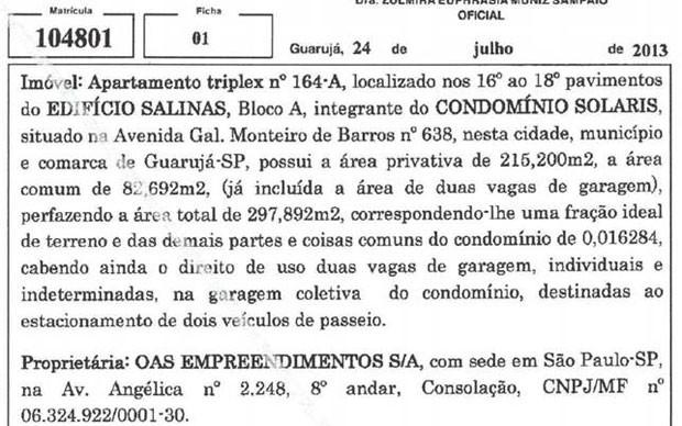 Defesa de Lula mostrou documento que mostra que imóvel é de propriedade da OAS (Foto: Reprodução )