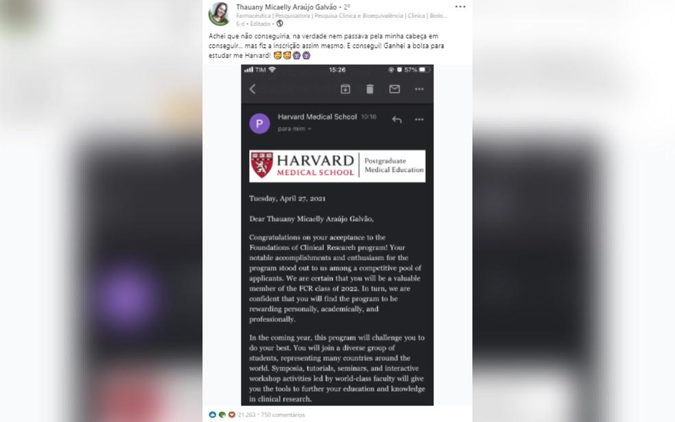 E-mail de Harvard em que a aprovação é informada — Foto: Reprodução/LinkedIn