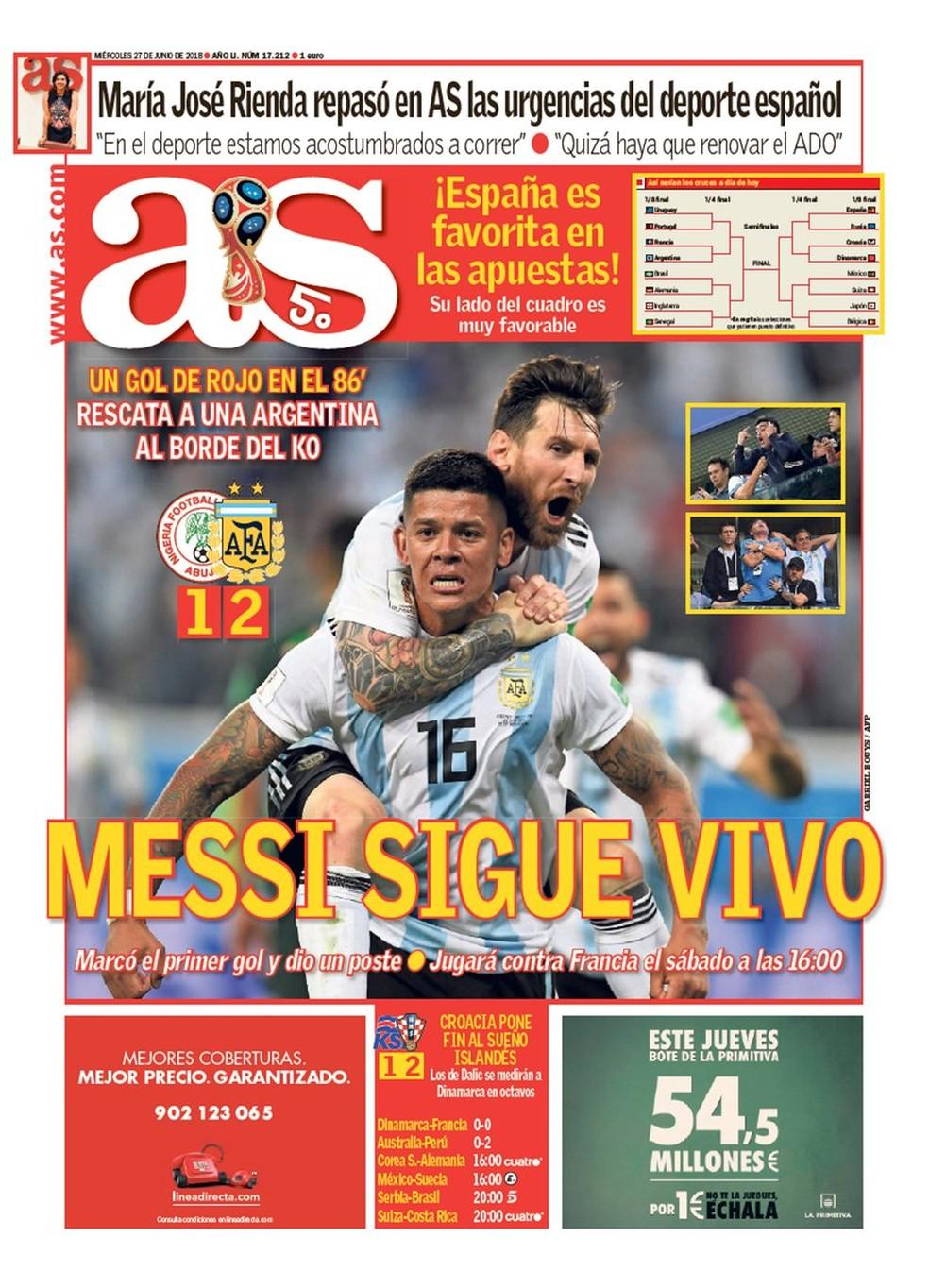 capa do as sobre a classificação da argentina (Foto: Divulgação)