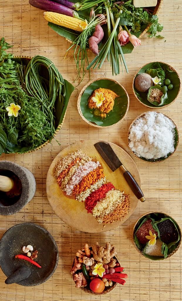 Ingredientes locais para aula de culinária, em Bali (Foto: Cortesia Aman e Divulgação)