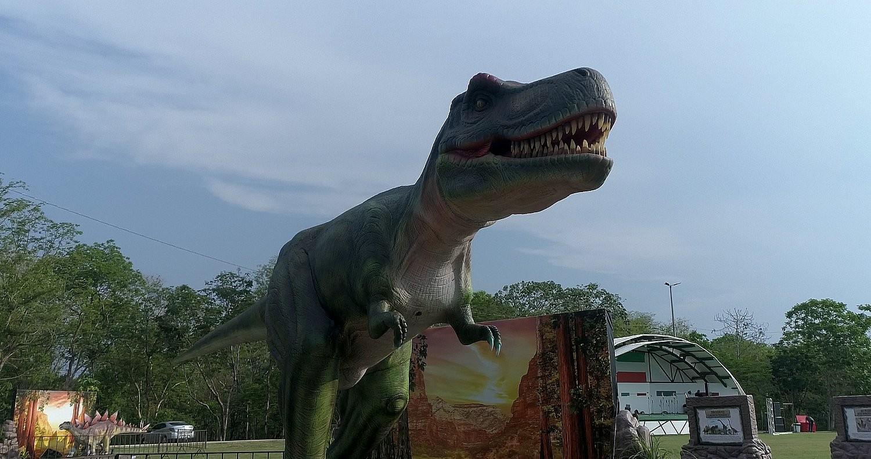 Exposição de dinossauros em Várzea Grande (MT) chama a atenção das crianças com réplicas em tamanho real