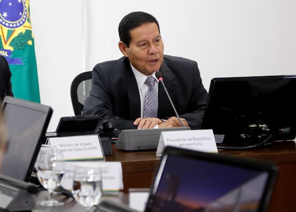 O presidente da República em exercício, Hamilton Mourão — Foto: Romério Cunha/VPR