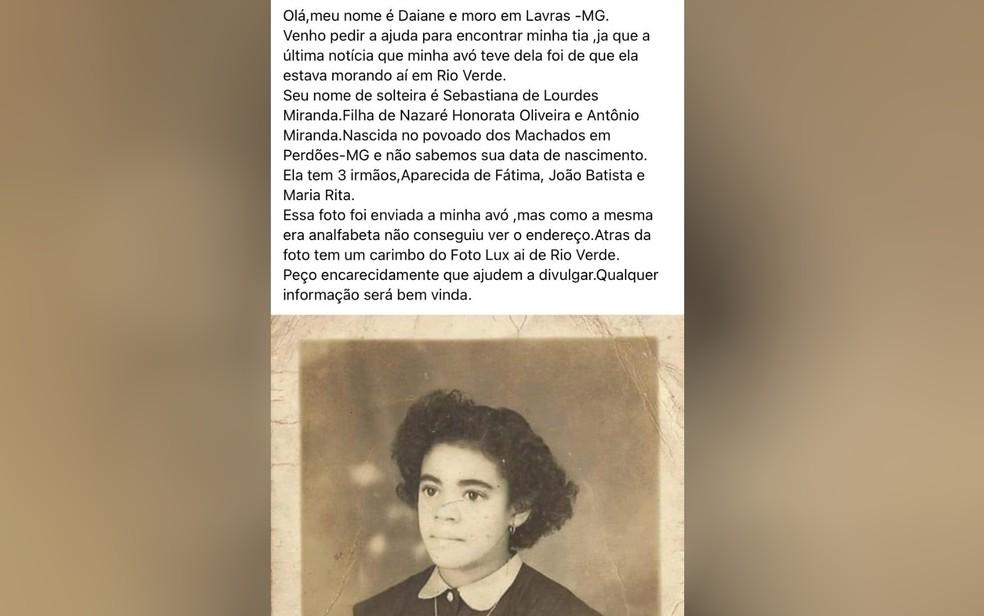 Post que buscava informações sobre Sebastiana Lurdes de Oliveira, Rio Verde, Goiás — Foto: Reprodução/TV Anhanguera