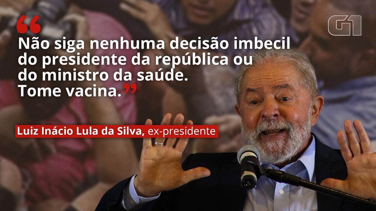 VÍDEO: 'Não siga nenhuma decisão imbecil do presidente da república ou do ministro da saúde. Tome vacina', diz Lula.