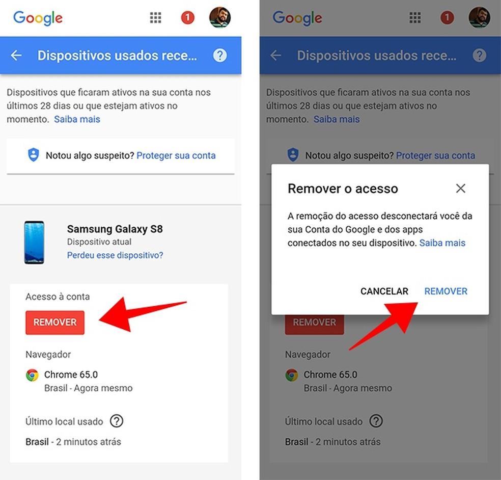 Remova a conta Google do aparelho perdido ou roubado — Foto: Reprodução/Paulo Alves