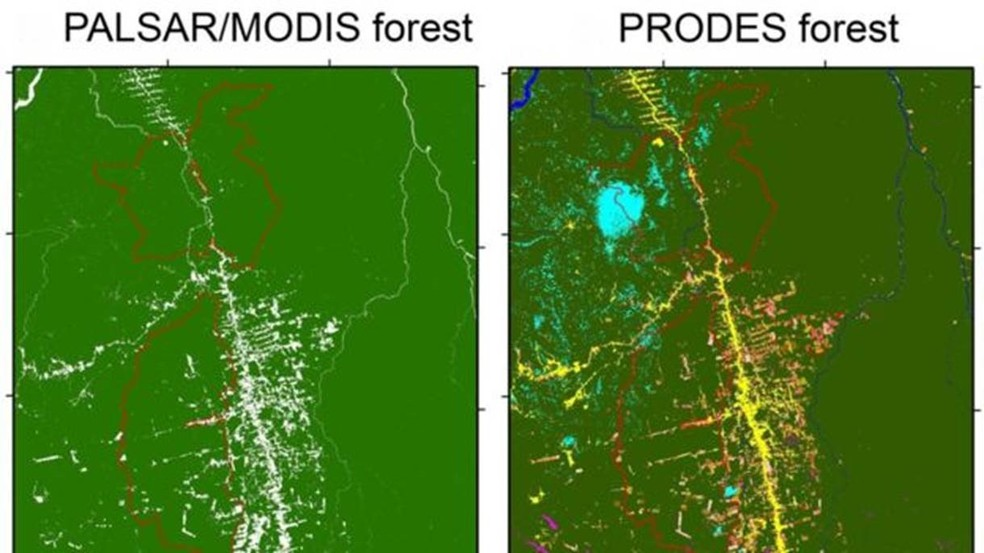 Pesquisadores de Oklahoma se basearam em dados do radar PALSAR, que faz imagens através de nuvens, enquanto o Inpe usa o PRODES, com base no satélite LANDSAT, em que 5% a 15% das imagens ficaram cobertas por nuvens ou sombras no período analisado — Foto: Divulgação/Universidade de Oklahoma